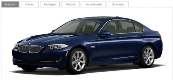 2011 BMW 5 Series configurator available online at BMWUSAdotcom